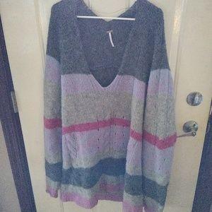 Free People Stripe Oversize Alpaca Sweater